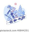Skier skiing in ski resort.Winter activities rest. Line vector illustration 46844201