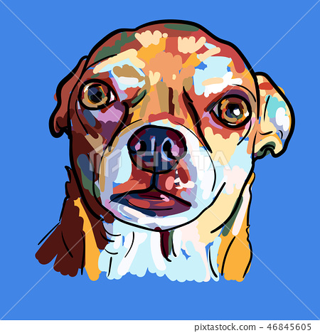 Painting face of chihuahua dog on blue background. 46845605