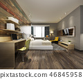 bedroom suite in hotel with tv and working table 46845958