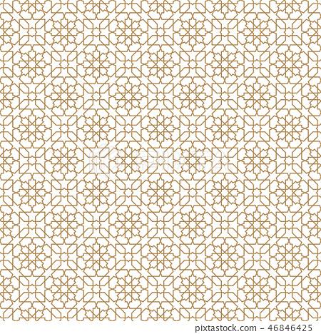 Seamless arabic geometric ornament in golden color 46846425