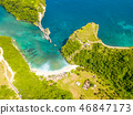 Empty Beach in the Bay of Tropical Island. Aerial 46847173