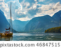 A view of Lake Hallstatt with yacht and mountains 46847515