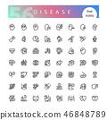 Disease Line Icons Set 46848789