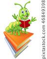 Reading Caterpillar Worm Bookworm on Books 46849398