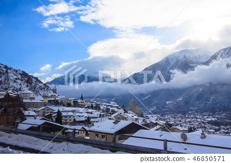 the cold winter snow of Switzerland 46850571