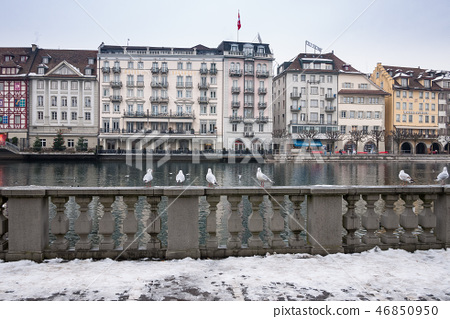 the cold winter and snow of Bern, Switzerland. 46850950