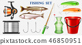 Realistic Fishing Elements Transparent Set 46850951