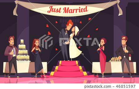 Wedding Reception Cartoon Illustration 46851597