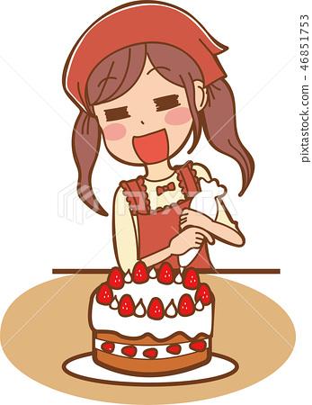 做蛋糕的女孩的例證 46851753