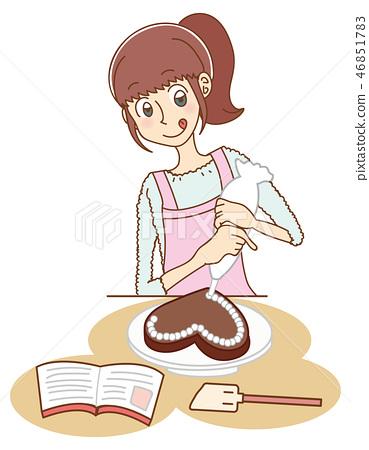 做手工製造巧克力的婦女的例證 46851783