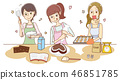 과자 만들기를하는 여성의 일러스트 46851785