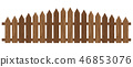 Wooden fence isolated on white background. 46853076