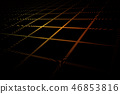 Futuristic grid in yellow red on black background 46853816