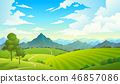 Meadows with mountains. Landscape hill field mountain land sky wild nature grass forest countryside 46857086
