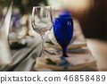 Elements of wedding decoration in restaurant. Green and blue color 46858489
