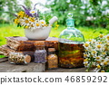 Mortar of herbs, essential oil bottle, old book. 46859292