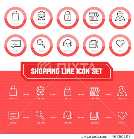 Shopping Line Icon Set 46860102