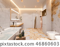 Interior design of a bathroom, 3d illustration in a Scandinavian style 46860603