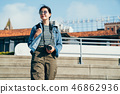 woman lens man holding camera walking down stairs 46862936