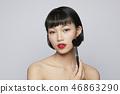 女性美容系列颜色背部化妆 46863290