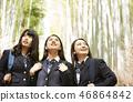 三個高中女生站在竹林的狹窄小路上 46864842