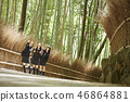 Three high school girls who stand in the small diameter of a bamboo grove 46864881