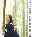High school girl standing against bamboo forest 46864931