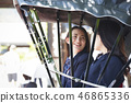 Two high school girls riding a rickshaw stopping in front of a temple 46865336