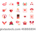 Valentine day colors icon set. 46866894