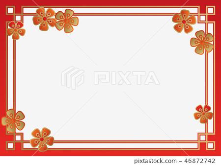 中国新年背景的集合。春节的传统设计。东亚幸福壁纸。 46872742