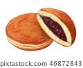 Dorayaki日本糖果手拉的水彩 46872843
