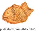 泰国被烘烤的日本甜点手拉的水彩 46872845