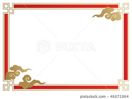 中國新年背景的集合。春節的傳統設計。東亞幸福壁紙。 46872864