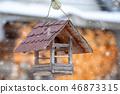 Wooden Bird Feeder in snowy day 46873315