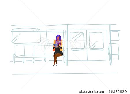casual woman subway passenger sitting metro train reading book interior view public underground city 46873820
