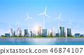 big modern city skyscraper view cityscape wind turbine solar battery renewable energy source concept 46874107