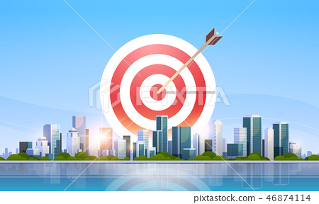 arrow in target business strategy concept successful goal achievement over big modern city building 46874114