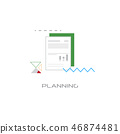 document with data chart financial planning concept line style isolated 46874481