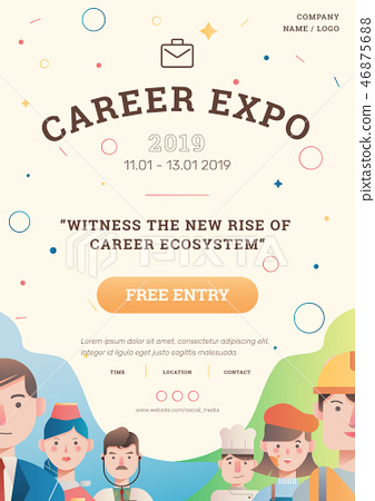 Job and career expo with avatar poster layout 46875688