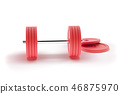 3d rendering dumbbell isolated on white, closeup, for fitness or weight related themes 46875970