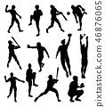 baseball, silhouette, player 46876065