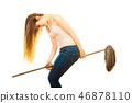 woman, broom, jumping 46878110