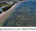 Aerial view of kiteboarding, kitesurfing 46879499