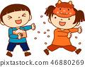 Mamemaki Setsubun child cute fun illustration 46880269