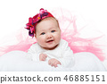 happy beautiful baby girl in tutu skirt and hat 46885151