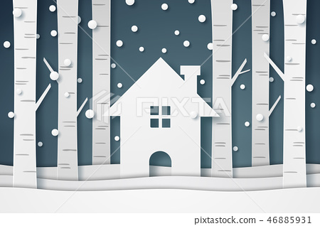 House and tree with snow falling in winter season 46885931