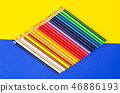 Set of colored pencils for schoolboy on bright 46886193