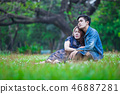 Couple love sitting and relax embracing  each othe 46887281
