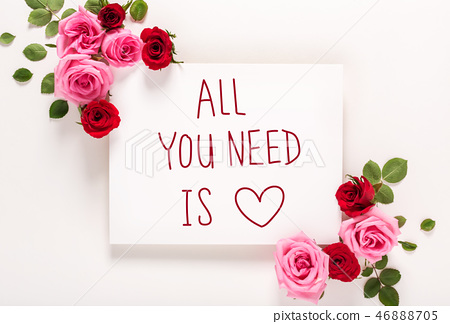 All You Need Is Love message with roses and leaves  46888705