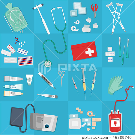 Medical equipment flat web and print illustration 46889740